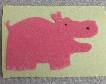 Vintage Sandylion Mini Fuzzy Pink Hippo Sticker