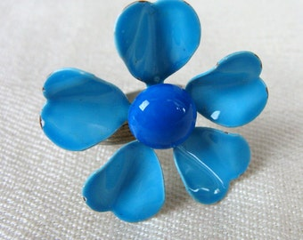 Vintage 1960s Mod Blue Flower Ring 60s Large Tin Enamel Adjustable Ring