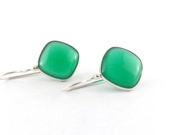Green Onyx Earrings, Green Onyx Drop Earrings, Green Stone Drop Silver Earrings, Green Silver Earrings, 925 Sterling Silver Earrings