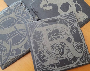 Custom Laser Engraved Slate Coasters - Set of 4