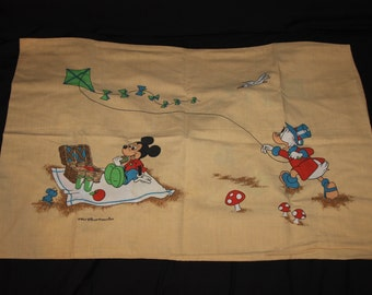 Vintage Walt Disney Productions Mickey Mouse Donald Duck Pillowcase !