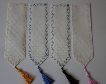 SET of 4 Blank Cross Stitch Bookmark - 14 count