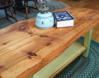 Thick Pine Slab Coffee Table