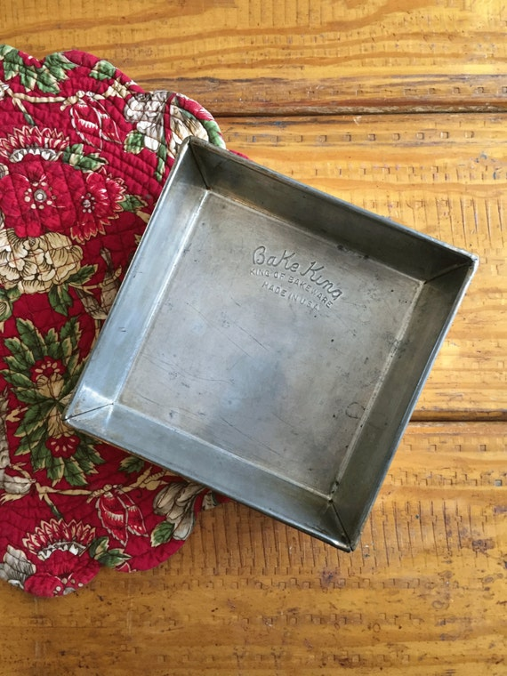 Bake King Vintage Square Baking Pan 8 Inch Metal Folded Over
