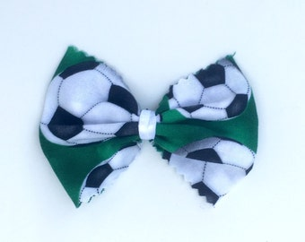 Soccer bow. White black & green soccer bow or flower hair clip for baby, child, teen or adult.  Hair clip for baby or her.  Hair accessory.