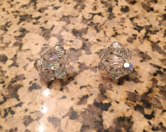 Aurora Borealis Bead Vintage Clip On Earrings