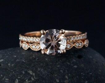 Solitaire Pink Morganite Engagement Ring – Half-Eternity Double Leaf Milgrain Diamond Wedding Band