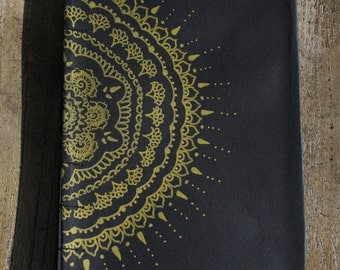 Gold Floral Design Hand Bound Book - Journal, Sketch Book, Photo Album, Photo Book, Diary, Drawing Book, Art Book, Blank Book, Book Binding