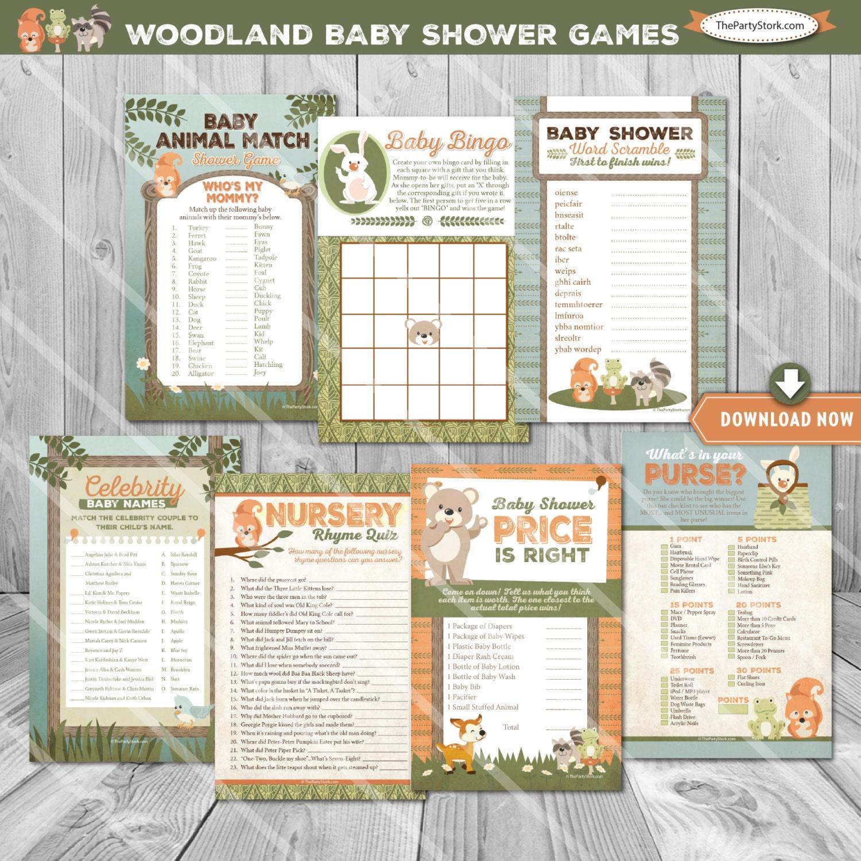 Baby Shower Games: Woodland Baby Shower Games Woodland Baby Shower Baby Bingo