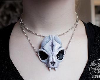 Cat Skull Necklace White