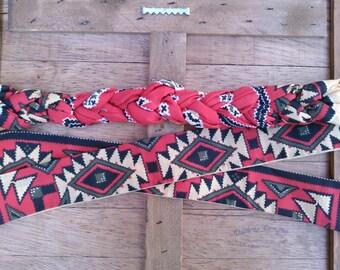 Handmade Vintage Braided Southwestern Print Cloth Belt