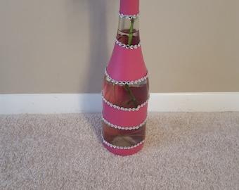 wine bottle vase with pink stripes and rhinestones
