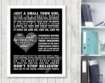 Journey Don't stop Believin'  Music Love Song Lyric Print Poster Canvas Word Art 2 Colours Heart Design Picture Gift Digital Download