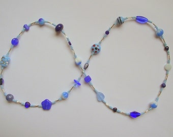 Longer length blues and silver necklace (15.010)