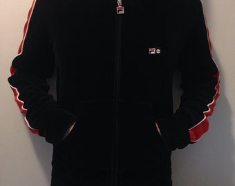 Small Velour Fila Blue and Red Hoodie