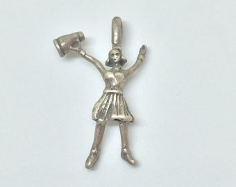 Cheerleader With Megaphone #1 Sterling Silver Charm Vintage, Item 6- Free Shipping within USA