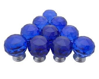 Blue Glass Cabinet Knobs 25mm Round 10 Pcs | Renovators Supply