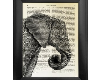 Elephant, printed on Vintage Paper - dictionary art print, book prints