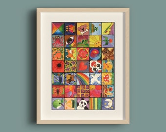 Colourful wall art for children's room - Fun patchwork-style painting - Original watercolour and ink (1 of 4)