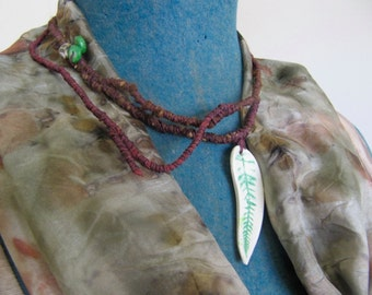 woven vines earthy clay necklace