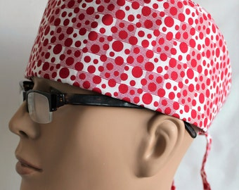 Surgical Scrub Hat with adjustable ties -  Red and white