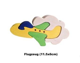 Mini Puzzle Airplane / Handmade / Wooden Toys / Vehicles / Transportation / Waldorf / Montessori