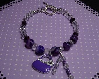 Charm Bracelet-Lilac and Mauve Agate Bracelet-Rondelle Crystals Bracelet-Enameled Mauve Handbag Charm Bracelet-Bicone Crystals-Toggle Clasp.