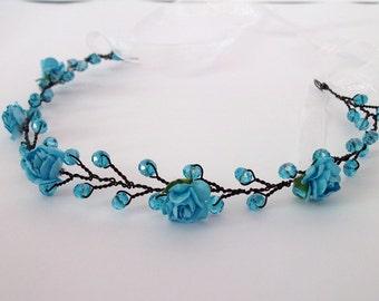 Blue jeweled headband, teen headband, blue hair accessory, blue flower headband, blue prom hair piece, jeweled hair band, blue headband