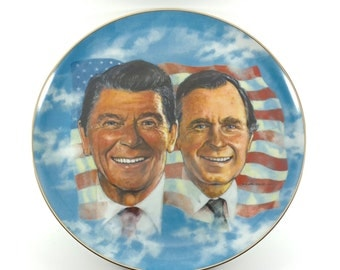 Ronald Reagan George Bush Collector Plate 1981