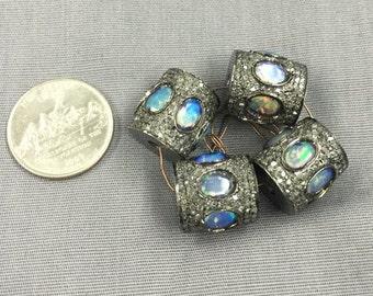 Opal and Diamond Beads