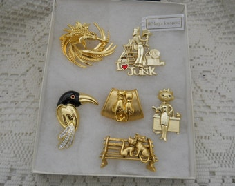 Vintage Jewelry Lot Cat Pins And More #500