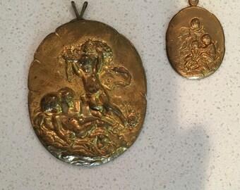 Antique Brass Cherub Stamped Pendants - Set of Two