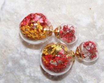 Double Stud Earrings, flowers earrings, double earrings, pearl earrings, real dill flowers, flower earing, natural jewelry