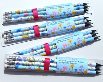 Pencil gift set, incorporating 'Summer Meadow' design from my original watercolour