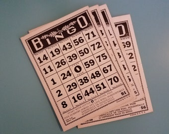 Vintage Bingo Cards - Set of 4