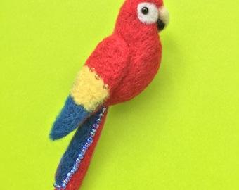 Scarlet Macaw Needle-felt Wool Brooch
