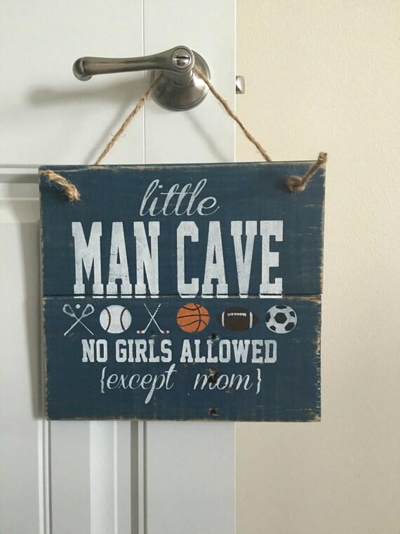 Man Cave Door Signs : Little man cave door hanger no girls allowed sign rustic