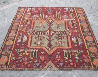 KURDISH Kilim, OLD Kilim ,Square Kilim RUG ,Wonderful Colors KilimExcellent Patterns For Decor