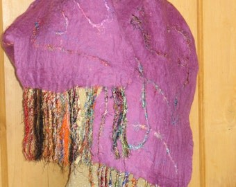 Felted Merino Wool Scarf; Woman's Felted Scarf; Pink Felted Scarf
