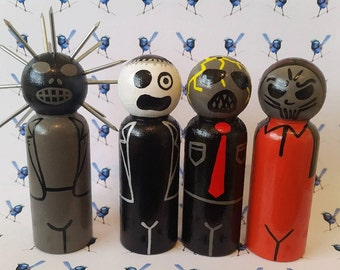 Wooden Peg Dolls - Slipknot Characters - Set of 4