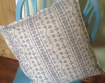 Nautical linen cushion cover.