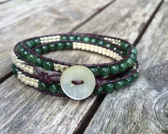 Jade Gemstone Leather Wrap Bracelet