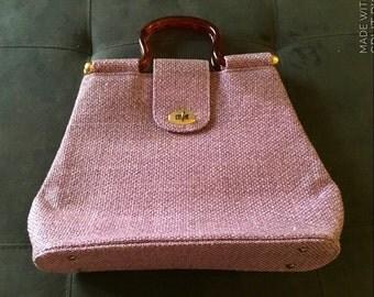 Vtg Large Purple Burlap/Canvas Purse or Tote w/Lucite Handles 1970s Mod