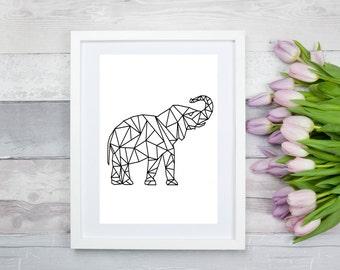 Printable 8x10 Elephant Geometric Art Print