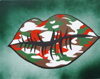 """Camo Lips - 14"""" x 11"""" Acrylic & Spray Paint on Stretched Canvas"""
