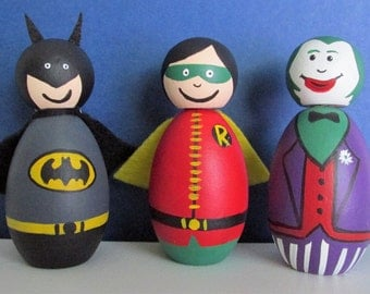 Hand-Painted Wooden Miniature Figurine Shelf-sitters - Batman, Robin, and Joker, set of 3