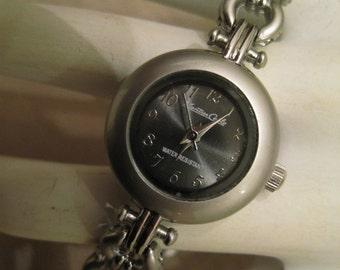 NWOT Montres Carlos Women's Quartz Watch Silver Tone Links Watch Band Choose Blue Or Gray Metallic Watch Face