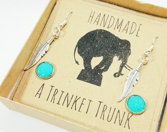 Feather Dangles and Druzy Studs