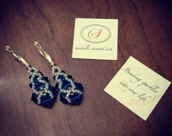 Cobalt Blue Woven Beaded Earrings