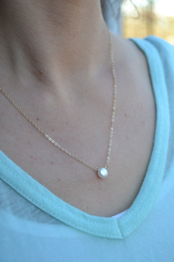 Dainty Freshwater Button Pearl Necklace in choice of 14K Gold Filled or Sterling Silver